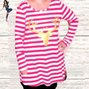 NEW RED/ WHITE STRIPE/ GOLD REINDEER TUNIC